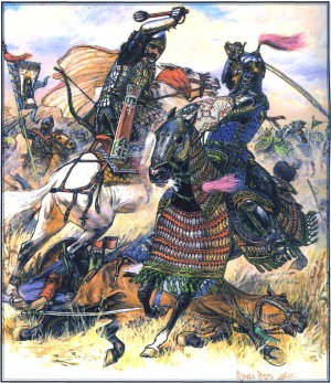 Куликовская битва 1380 г. Русский и золотоордынский воины