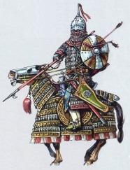 Монгольский тяжеловооруженный всадник, рисунок М.В. Горелика
