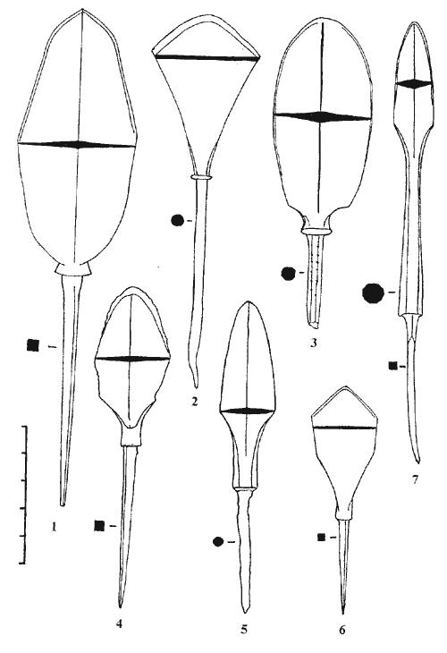 колекция купных наконечников срезней
