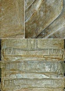 Збручское изваяние (детали): 1-3 - сторона В; 4 - сторона С; 5 - сторона А.