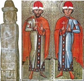 1 - Збручское изваяние, сторона А; 2 – св. Борис и Глеб, икона (Потелич).