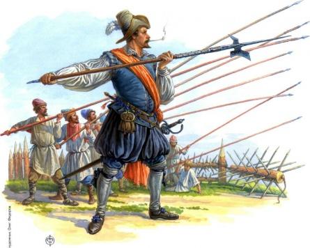 Сержант отряда Христиера Зомме обучает посошных ратных людей обращению с пикой по нидерландскому уставу в лагере М.В.Скопина-Шуйского под Калязиным монастырем (август 1609 г.)