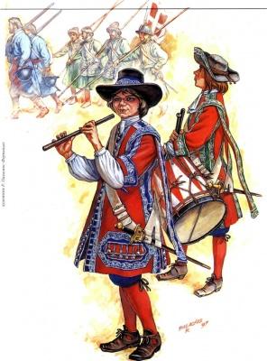 Барабанщик и флейтщик 1-го Выборного солдатского полка. На заднем плане — мушкетеры вторых и пикинеры первых тысяч московских солдатских полков