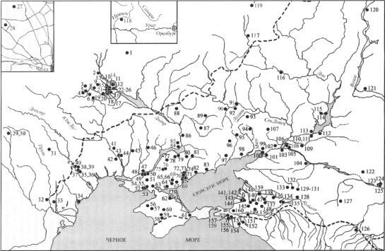 Распространение погребений поздних кочевников с кольчугами и шлемами; кольчугами; шлемами в Восточной Европе.