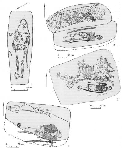 Позднекочевнические погребения с надетым на умершего оборонительным вооружением