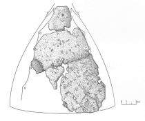 Реконструкция расположения фрагментов шлема. Дубоитн раскоп (Великий Новгород, Россия)