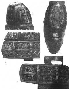 Детали рукояти меча из Гнёздова: 1 - головка навершия, вид сбоку; 2 - навершие, вид сверху, 3 - основание навершия, 4 - перекрестие.