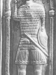 св. Георгий из Чихареши в двухзаклепочном доспехе