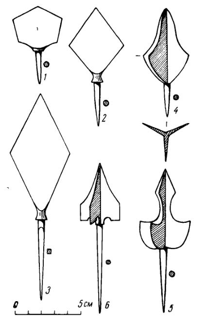 Сибирские наконечники стрел, занесенные в Восточную Европу монголами в XIII-XIV вв.