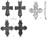 Кресты-энколпионы: 1 — пос. Ланок; 2-3 — пос. Масаны, фото и прорисовка