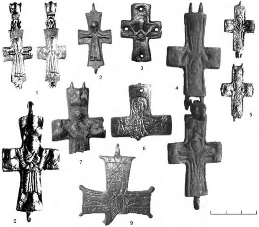 Рельефные кресты-энколпионы из крепости Исакча (Румыния)