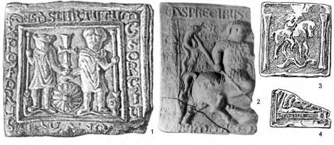 Керамические иконы: 1-2 — крепость Виница: 1 — с изображением св. Георгия и св. Христофора (VI в.); 2 — с изображением св. Феодора; 3-4 — Северная Африка, с изображением св. Георгия? (V-VI вв.