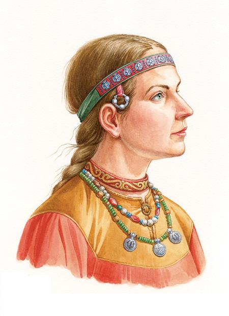 Реконструкция костюма и украшений девушки из Ярославля