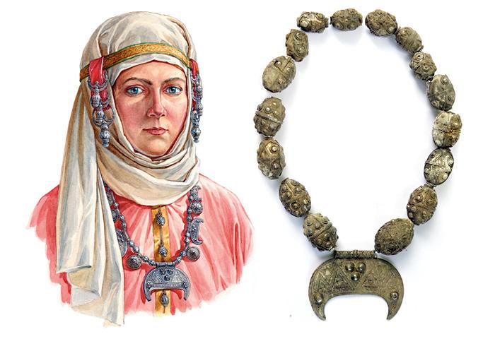 Женщина в уборе с гроздевидными наушниками, лунницами и щитовидными подвесками, конец X – начало XI в. По материалам кладов из Гнёздово под Смоленском
