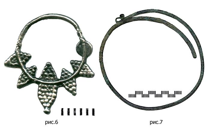 Лучевое ложнозерненое литое височное кольцо VIII-XIII вв., / Браслетообразное проволочное височное кольцо.