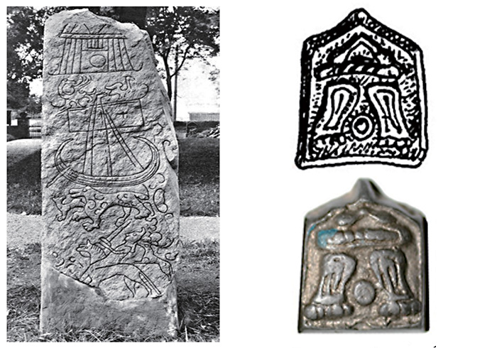 Изображение Вальхаллы на поясных накладках, аналогичное рисунку на камне в городе Бирке (Швеция)