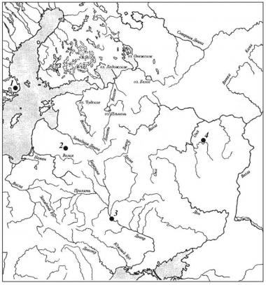 Карта находок типа А-местный (вариант «Киев») и фрагментов их перекрестий с орнаментом в виде переплетения сдвоенным растителъныгх побегов: 1 — Kunds Husby (Швеция); 2 — Visetiskes (Литва); 3 — Киев (Украина); 4 — Пурдошки (Россия, Мордовия)