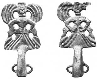 Бронзовые навершия с изображением женского божества. Александропольский курган