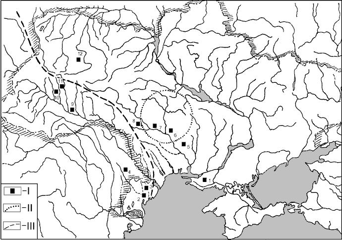 Ситуаційний план розміщення пам'яток другої половини ІІ тис. до нар. Хр. в контексті локалізації Ексампею і Бурштинового Шляху