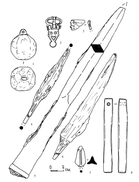 Инвентарь погребения № 525. 1 - кистень; 2 - поясная пряжка; 3 - фрагмент венчика со суда; 4 - проволочный стержень; 5 - наконечник копья; 6 - нож; 7 - наконечник стрелы; 8 - точильный брусок. 1, 4-7 - железо; 2 - бронза; 3 - дерево; 8 - камень.