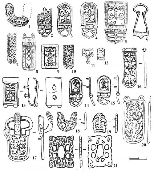 Маркеры горизонта Столбище-Старокорсунская из погребений Нетайловского могильника