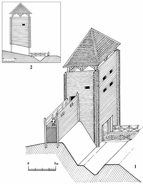 1 - вариант реконструкции эскарпа со стеной и надвратной башней; 2 - разрез надвратной башни.