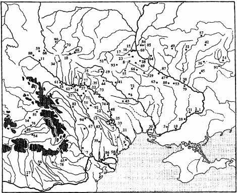 Карта находок оружия Черняховской культуры. Цифры на карте соответствуют номерам памятников в «Списке находок».