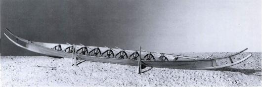 Миниатюрная реконструкция Хьортспрингской ладьи примерно 350 г. до Р.Х.