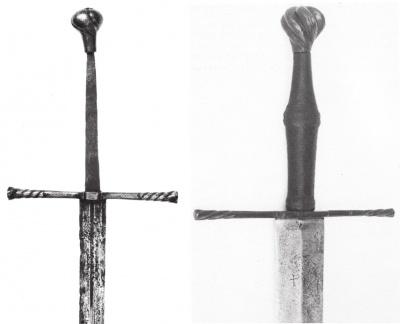 а - меч, найденный в городе Невшатель (Швейцария), рубеж XV-XVI вв., б - меч, из бывшего собрания замка Эрбах, рубеж XV-XVI вв.
