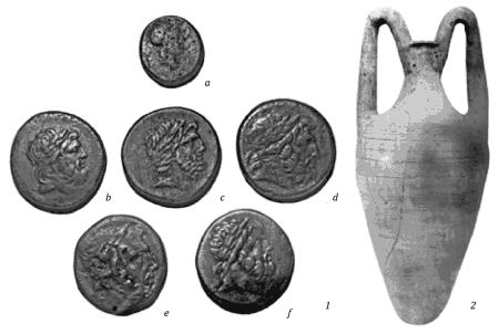 Находки из котлованов лета 1928 г.: 1 - бронзовые монеты; 2 - амфора