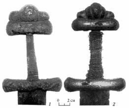 Рукояти мечей №2 (1) и 3 (2) до реставрации