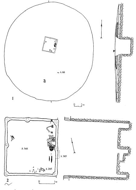 Курган поблизу смт Коротич: 1 — план та розріз кургану; 2 — план та розріз поховання: 1 — вістря стріл; 2 — наконечники списів; 3 — втоки; 4 — вудила; 5 — ромбоподібна бляшка; 6 — бляшки-розетки