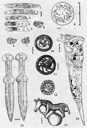 Изображения на костяных и бронзовых предметах
