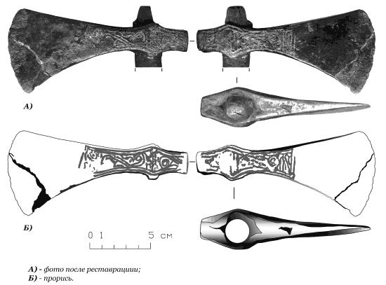 Боевой топор XIV века с Пятницкого раскопа в Старой Руссе
