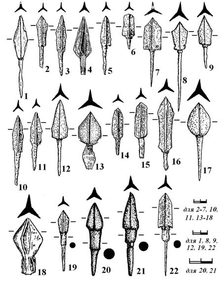 Железные трехлопастные (1-22) наконечники стрел
