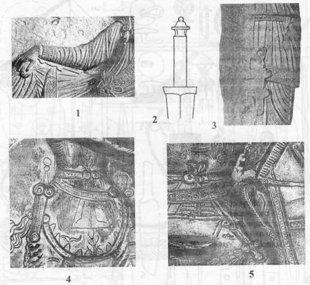 Изображения кинжалов с четырьмя выступами на ножнах