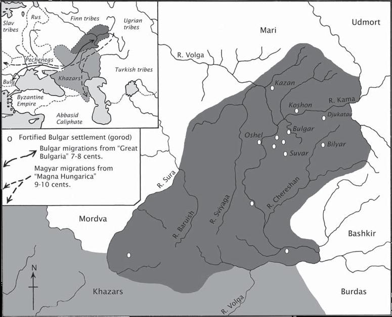 Карта Волжская Булгария, X-XIII век