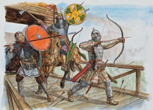 1 - Булгарский кавалерист, 11-12 вв. 2 - Хантский воин, 11-12 вв. 3 - Воин племени Мари 11 столетие