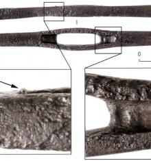 Деформация внутренней части паза перекрестья меча