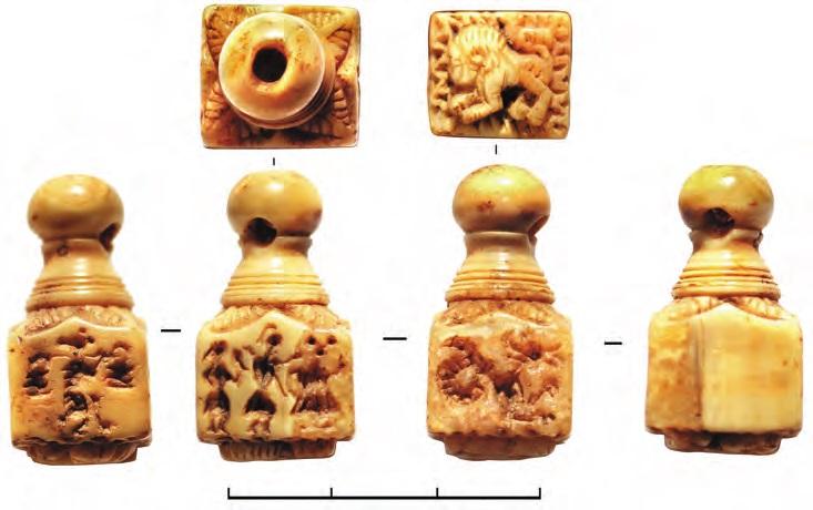 Костяная печать-матрица шахматовидной формы с квадратным основанием