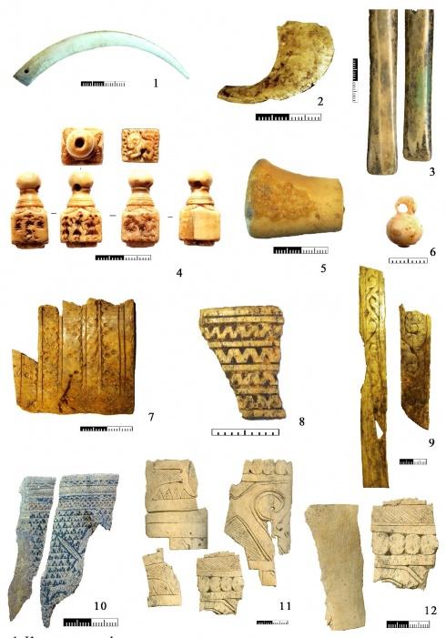 Костяные артефакты золотоордынского времени из раскопок последних лет: 1 - амулет из клыка кабарги; 2 - фрагмент кольца для стрельбы из лука из бивня моржа; 3 - предметы из бивня моржа; 4 - печать из бивня моржа; 5 - навершие из бивня моржа; 6 - пуговица из бивня моржа; 7, 8, 10 - фрагменты накладок на колчан из бивня слона; 9 - фрагменты накладок на колчан из ребра крупного рогатого скота; 11 - фрагменты накладок на колчан из бивня слона - производственные отходы; 12 - фрагменты накладок на колчан из плотного рога и бивня слона - производственные отходы (1, 10 - Болгар, раскоп CXCIX; 2, 3, 7-9 - Болгар, раскоп CLXII; 4 - Болгар, раскоп CLXXIX; 5 - Кош Кую; 6 - Батальное-I; 11-12 - Азов, раскоп Социалистическая, 53)