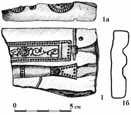 Каменная литейная форма с Муромского городка. 1 - лицевая сторона, 1а - боковая сторона, 1б - сечение.