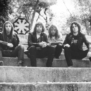 Cirith Ungol 1980: Pictured left to right: Tim Baker (vocals), Robert Garven (drums), Greg Lindstrom (guitars, keyboards, bass, E. Bow, vocals), Jerry Fogle (guitars)